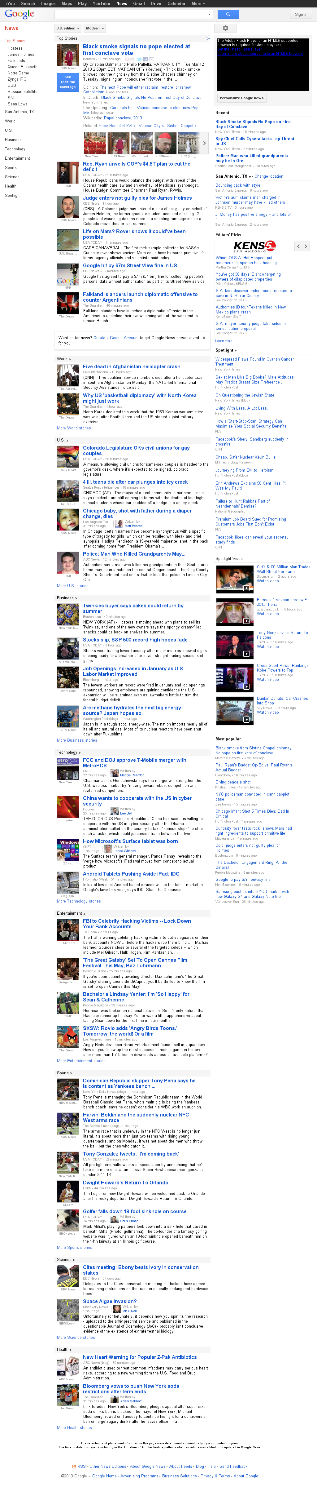 Google News at Tuesday March 12, 2013, 7:07 p.m. UTC