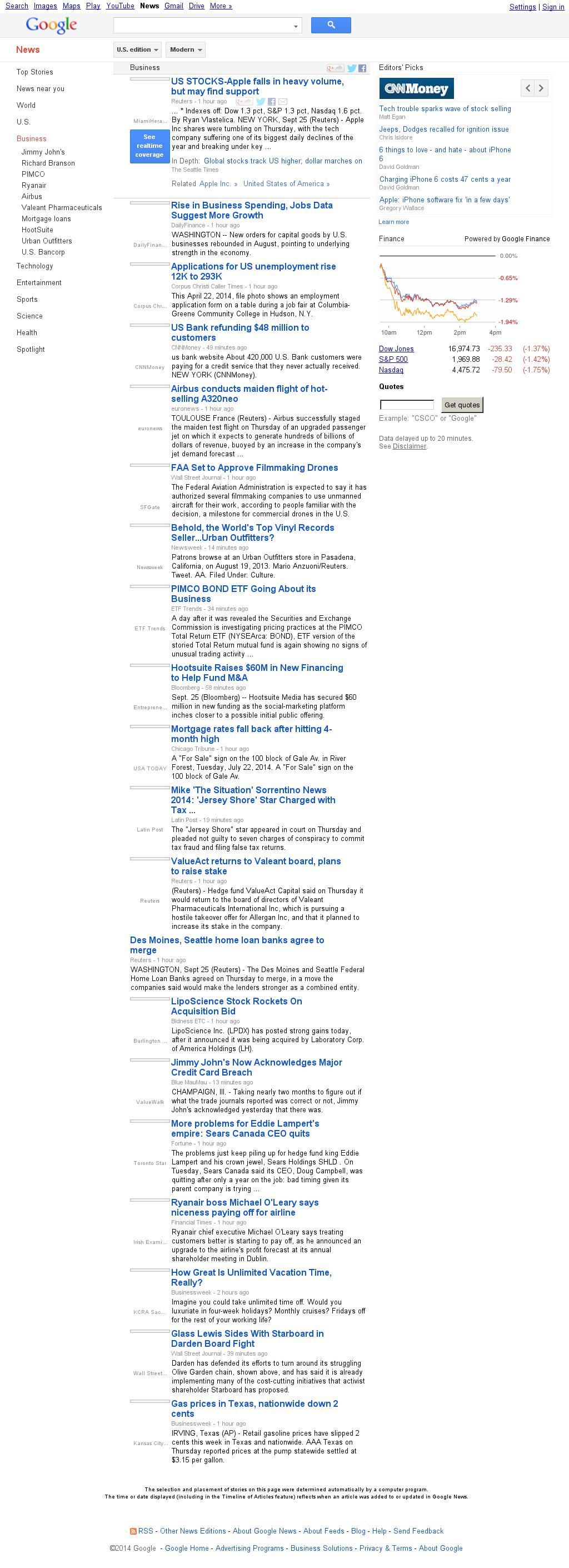 Google News: Business at Thursday Sept. 25, 2014, 7:08 p.m. UTC