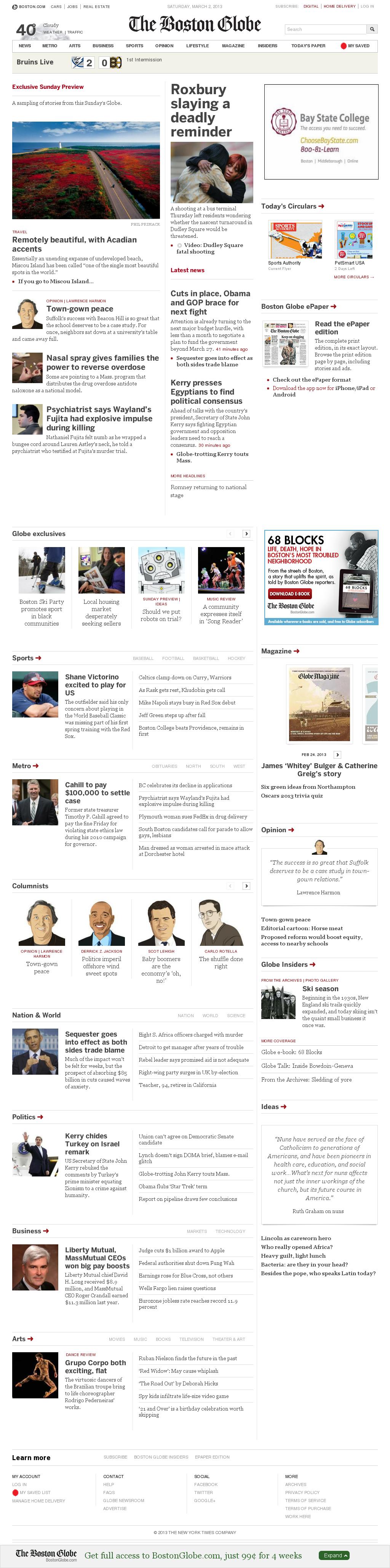 The Boston Globe at Saturday March 2, 2013, 7:02 p.m. UTC