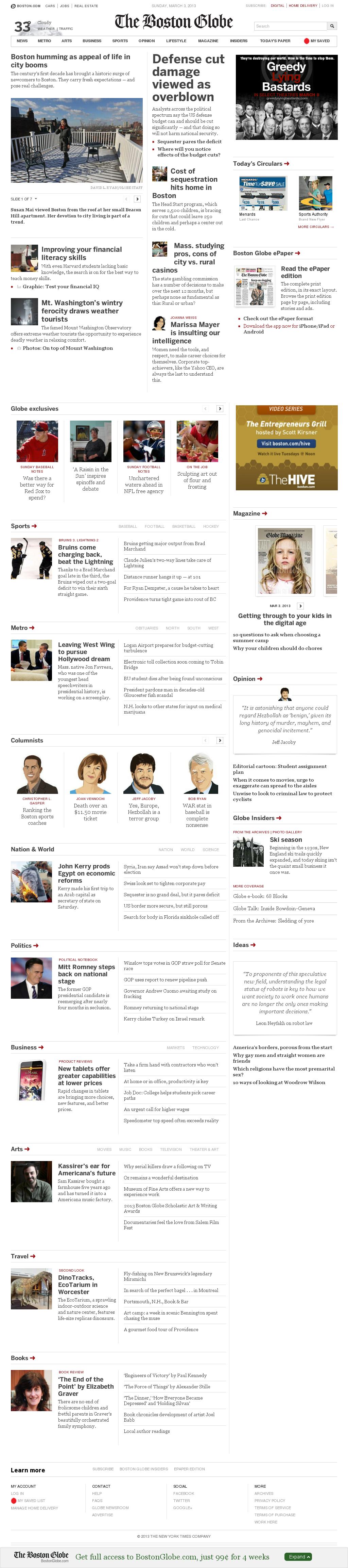 The Boston Globe at Sunday March 3, 2013, 12:01 p.m. UTC
