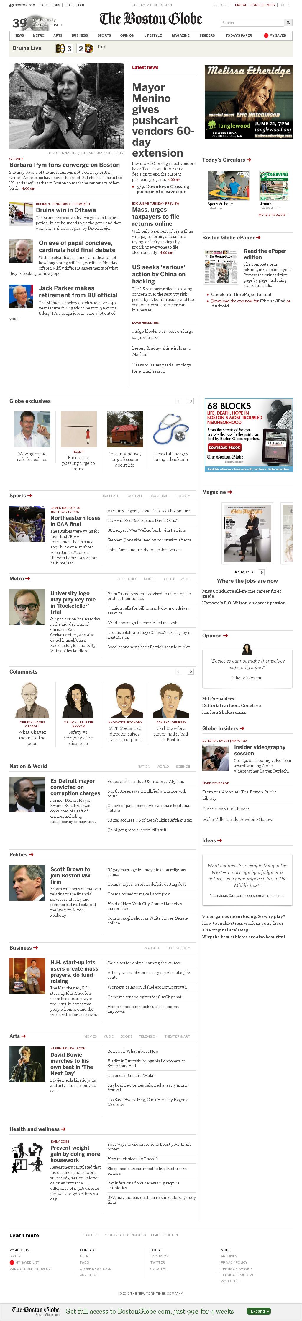 The Boston Globe at Tuesday March 12, 2013, 6:02 a.m. UTC