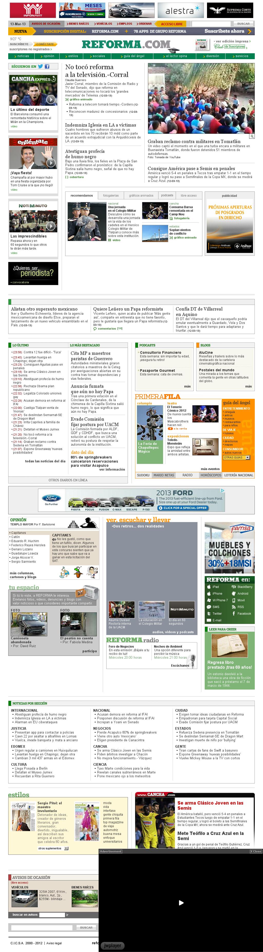 Reforma.com at Wednesday March 13, 2013, 7:18 a.m. UTC