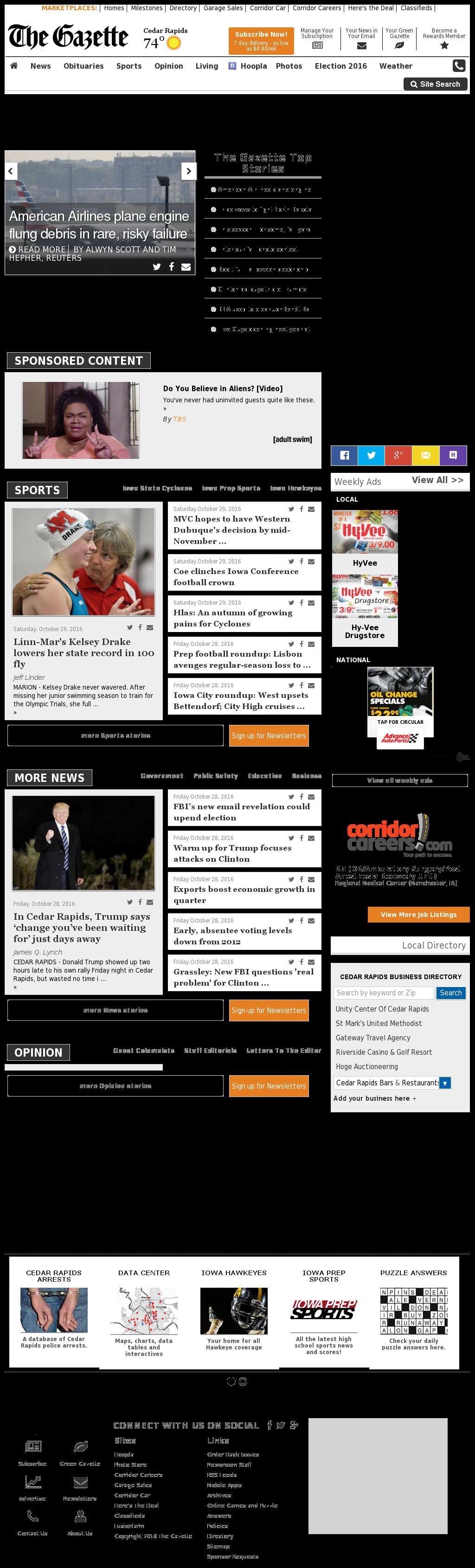 The (Cedar Rapids) Gazette at Saturday Oct. 29, 2016, 11:06 p.m. UTC