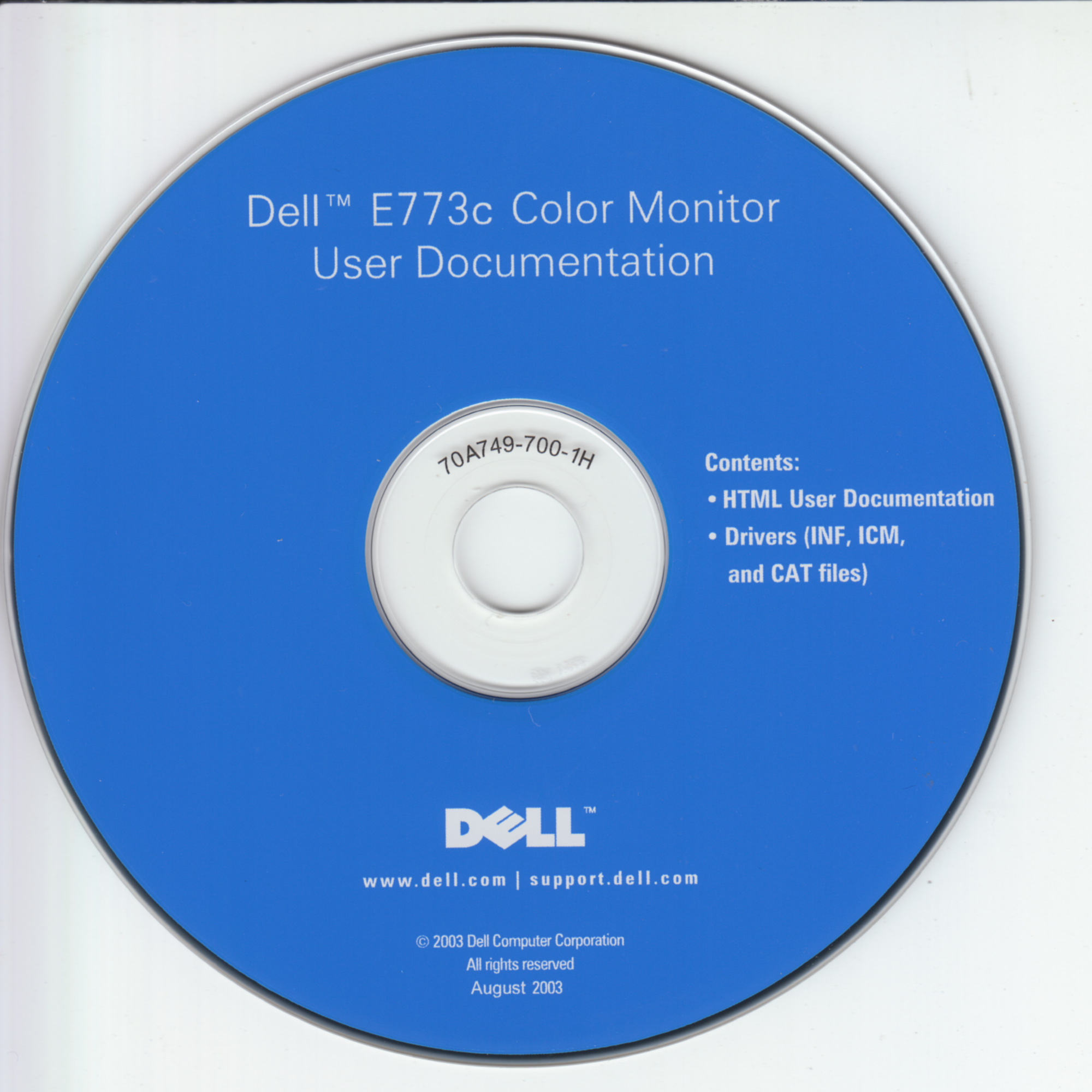 Dell E773c Color Monitor User Documentation (70A749-700-1H)