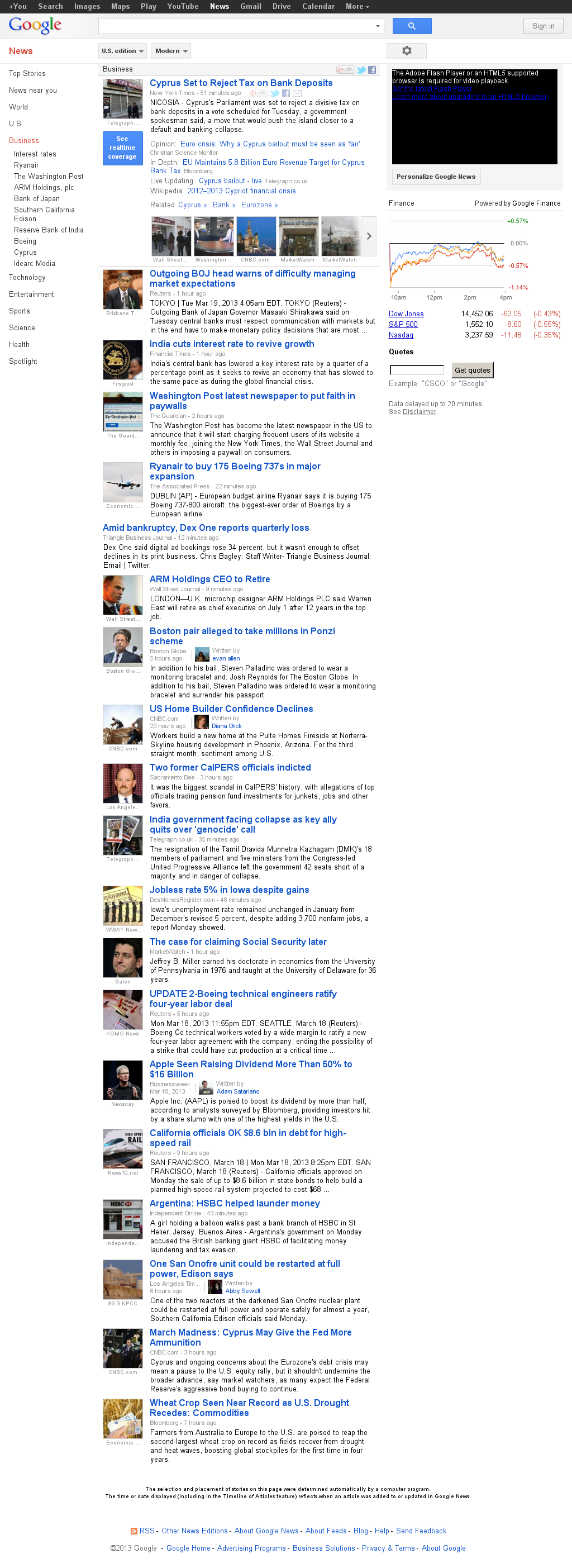Google News: Business at Tuesday March 19, 2013, 10:10 a.m. UTC