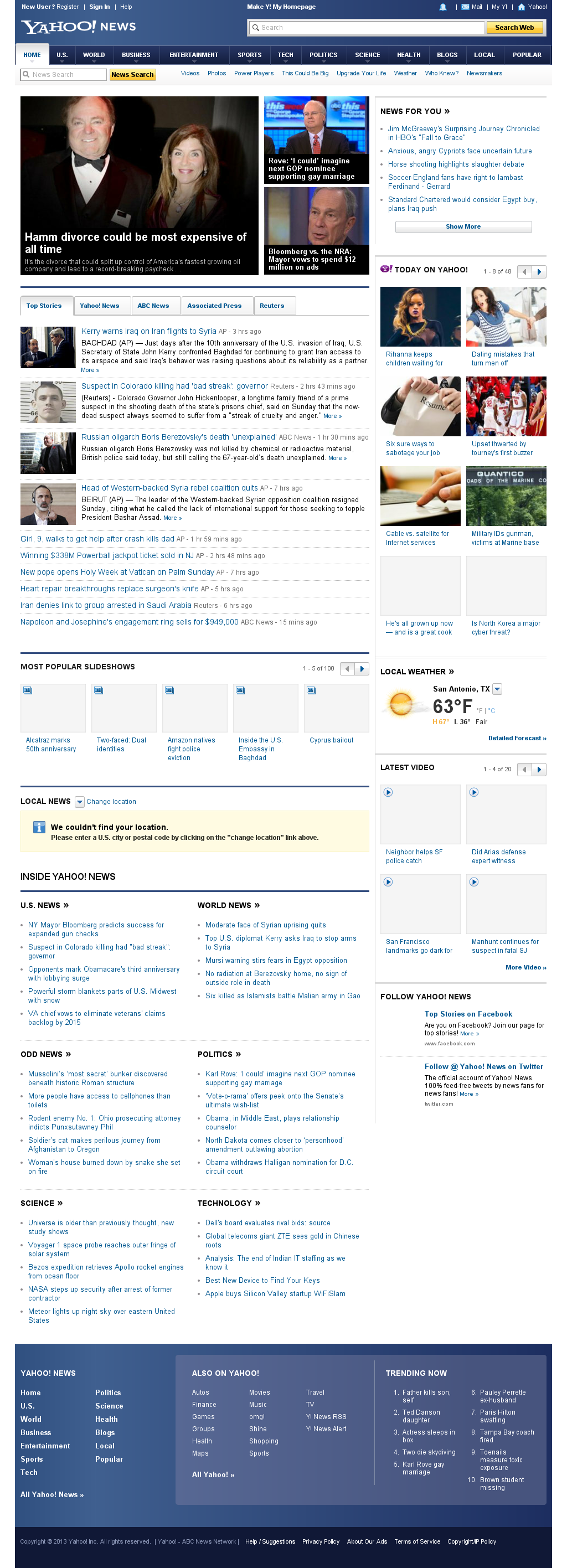 Yahoo! News at Sunday March 24, 2013, 9:47 p.m. UTC