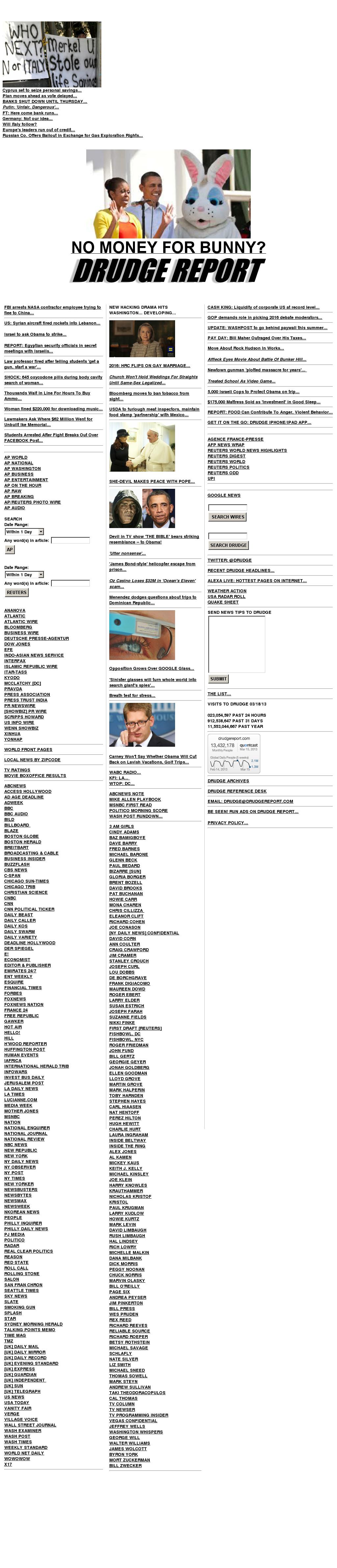 Drudge Report at Monday March 18, 2013, 11:05 p.m. UTC