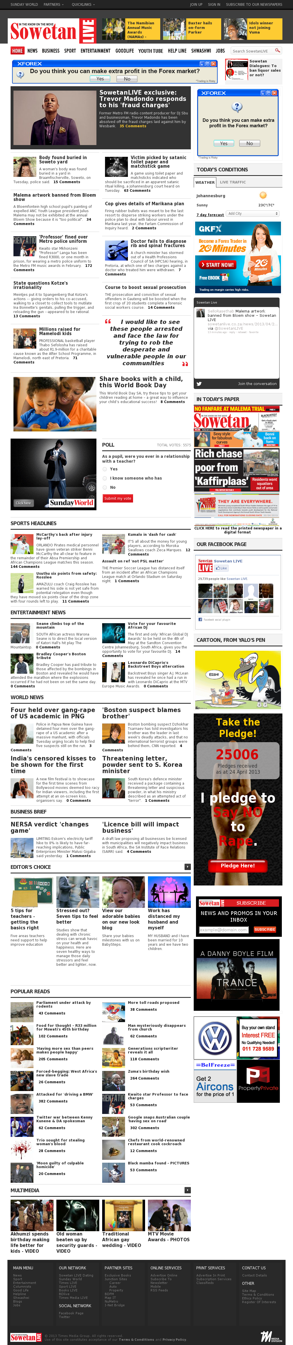 Sowetan Live at Wednesday April 24, 2013, 4:20 a.m. UTC